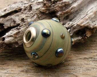 LARGE HOLE HOLLOW Bead - Handmade Lampwork Large Hole Bead - 1 Bead