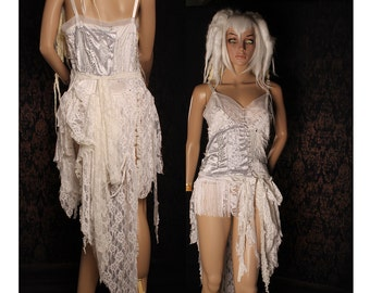 French Vampire Dress, white babydoll dress, patchwork, stitches, flapper fringe, tattered wasteland dress, steampunk bride, shabby chic