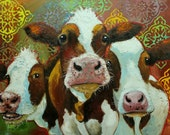 Cows painting animals 507  30x40 inch original portrait oil painting by Roz