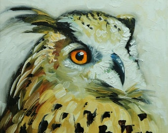 Owl painting 123 12x12 inch original oil painting by Roz