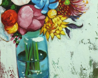 Floral painting 241 18x24 inch original still life oil painting by Roz