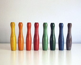 Vintage Miniature Bowling Pins, Eight Rainbow Colors Wood Toys and Games, Crafting Art Supplies Mini Playing Pieces Stocking Stuffers