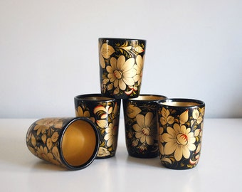 Vintage Khokhloma Russian Wooden Cups Gold Black Red U.S.S.R. Soviet Lacquer Hand Painted Folk Art Five Drinking Glasses Flowers