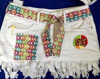 Recycled Jean Handbag Purse, Hippie Gypsy Bohemian