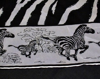 Vintage Zebra Striped Scarf Black and White 23 inch Sq Burmel Made in Japan
