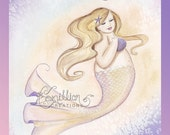 Sassy Mermaid Original Watercolor Painting by Camille Grimshaw