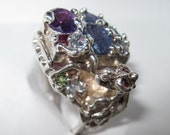 On Sale - Dragon Ring Natural Sapphires Ruby  poison pill handmade Sterling Silver Made USA Treasurings