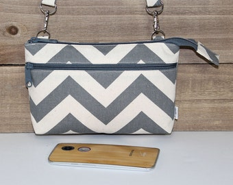 Cell Phone Crossbody Wallet Clutch, Fits All Smartphones, iPhone 6s Plus Cross Body, Galaxy, Nexus, Moto X Pure / Gray Chevron Canvas