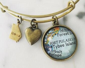 Tybee Island Georgia Map Charm Bracelet - Map Jewelry - Coastal Georgia - Vacation - Wanderlust - Georgia Coast - Beach Life