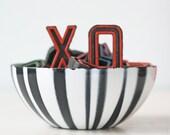 """Vintage Cathrineholm Bowl, Black and White Stripes, 5 1/2"""" diameter"""