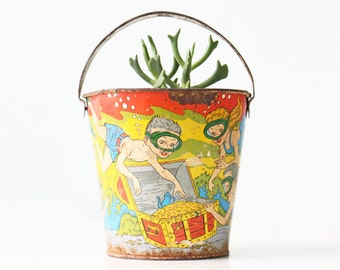 Vintage Tin Toy Pail, Ocean Treasure Chest, Ohio Art