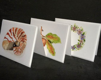 Watercolor folded notecards - A2 - 4 1/4 X 5 1/2