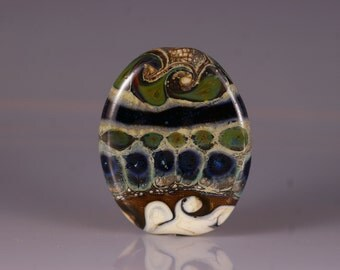 Lampwork Glass Focal Bead - tab bead in ivory, blues and brown