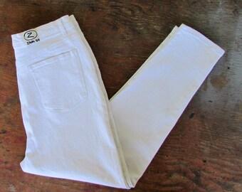 80s High WAIST Jeans Vintage 1980s Womens White Zana-Di Stretch Tapered Leg Skinny Pants 22