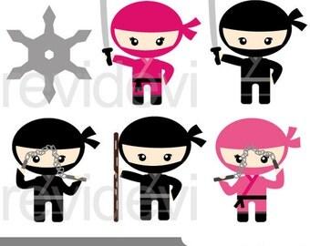 Cute ninja clipart - pink black ninja digital clip art - Cute clipart - Instant download - commercial use