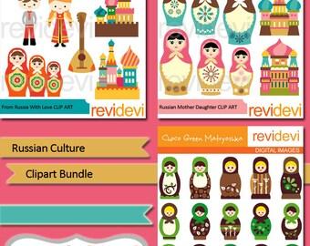 Russian culture clipart bundle - Russia Matryoshka nesting dolls clipart, Russian boy and girl, buildings - digital clipart