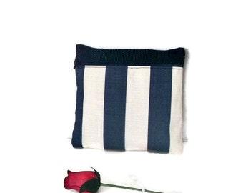 Nautical Stripe Makeup Bag  , Travel Organizer , Navy Blue and White Stripe Pouch , Purse Clutch