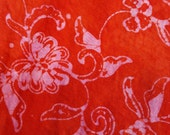 Batik orange and pink floral asymmetrical  lightweight jersey skirt (Very generous m)
