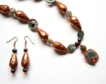 Copper Beaded Necklace and Earring Set with Labradorite, Freshwater Pearls, and Abalone - Copper Queen of the Night
