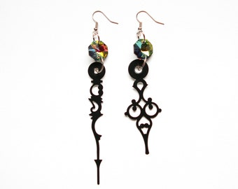 Steampunk Clock Hand Earrings - Rainbow Party Time