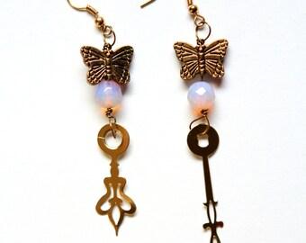 Boho Steampunk Clock Hand Earrings - Brass Butterflies
