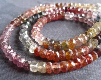 6 1/2 inches of Multi Colored Spinel Large Faceted rondelles - 4mm X 2.5mm