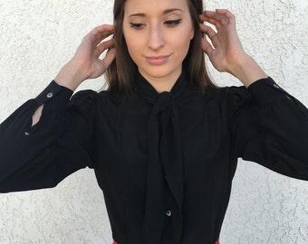 80's Carole Little black silk blouse with neck tie