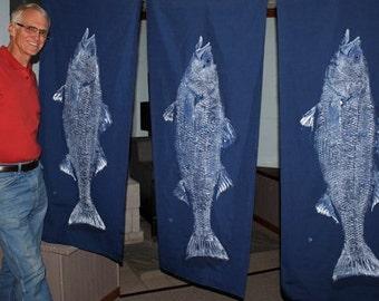 ORIGINAL Spectacular 41 inch Best Striped Bass GYOTAKU fish rubbing wall art on Navy Cloth