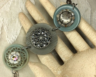 Vintage Found Object Bracelet - Shades of Gray, feminine, OOAK, up cycled recycled, junk, treasures, button, sparkle, patina,