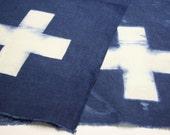 Sale - Linen hand dyed in cross pattern