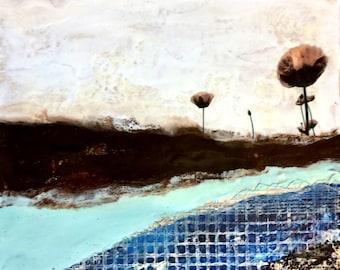 Original encaustic painting- Poppyfield