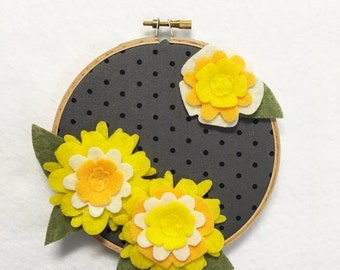 Flower Wall Art, Embroidery Hoop Art, Mellow Yellow, Nursery Decoration, Floral Wall Decor, Hoop Wall Hanging, Felt Flower Hoop