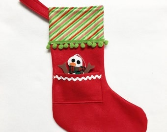Felt Stocking, Christmas Stocking, Pocket Stocking, Snowman - Candy Cane, Stripe, Red Stocking