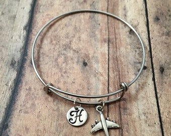 Airplane initial bangle - airplane jewelry, pilot bracelet, commercial plane jewelry, flight attendant gift, silver airplane bangle