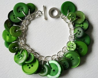 Emerald City Green Button Bracelet