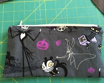 """Zipper pencil pouch, zipper pencil case, zipper pouch, great gift for kids, back to school, knitting needle case, cosmetic bag  8""""x4.25"""""""