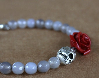 Skull Bracelet, Bead Bracelet, Beadwork, Gift For Girlfriend, Skull Jewelry, Flower Bracelet, Romantic Gift For Her, Wife Gift, Mothers Day
