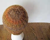 Sale Ada Accordion Hat in Topaz - Hand Knit Textured Cap in Autumn Shades of Copper, Gold, and Tan