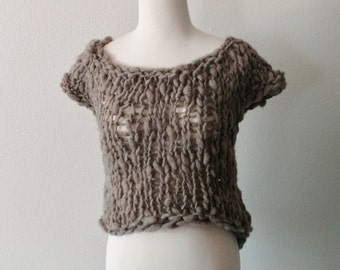 Post-Apocalyptic Shetland Sweater 2 - Natural Grey Rustic Wool, Bamboo, Hemp. Textured Knit Bulky Sweatervest, Fall Fashion, Dystopian.