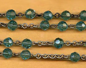 """vintage glass rosary beads chain turquoise color faceted glass rosary chain, patinaed silver tone metal over TWO FEET 29"""""""