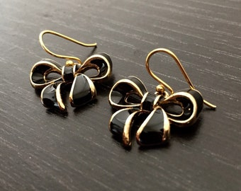 Black Bow 14k Gold Plated Earrings