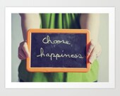 colorful portrait photography- inspirational quote- green orange- Choose Happiness fine art photograph
