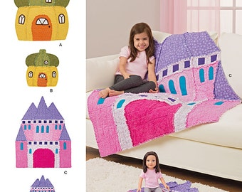 Simplicity 8033 Sewing Pattern - Children's Rag Quilt - Acorn House and Castle