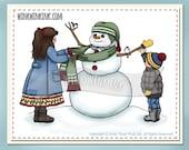 Digital Stamp -  Snow Friend - Children building a snowman