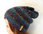 Knit Slouchy Striped Wool Hat - Ocean