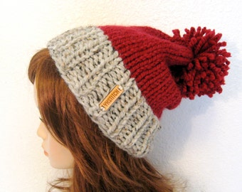 Slouchy Knit Hat with Pom Pom / VAIL / Grey Marble and Cranberry