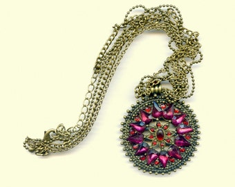 Vintage Boho Sunburst Pendant Necklace, Red and Deep Pink Stones In Oxidized Brass, Three Chains, Great Details