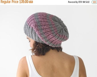CLEARANCE 50% SALE Gray - Pink Slouchy Hat by Afra