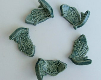 Ceramic Chopstick Rests, Hand Made Set of Five, Koi Antique Blue