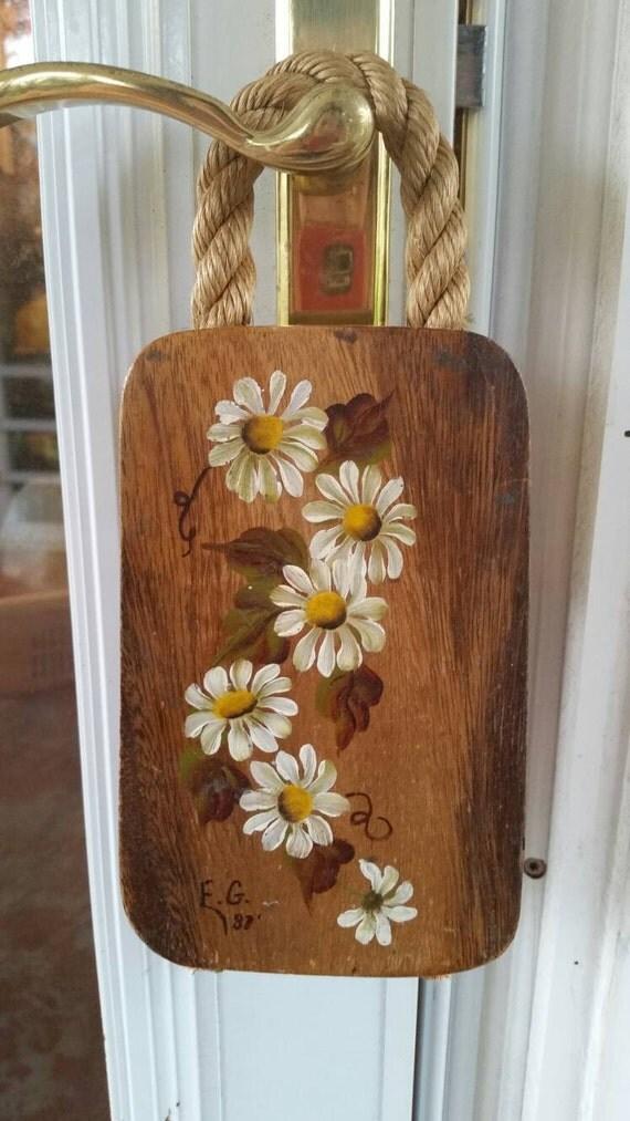Vintage Wooden Hand Painted Door Hanger Rope Floral Flowers